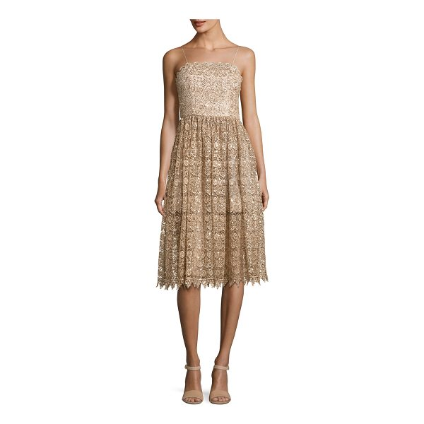 "ALICE + OLIVIA Alma Embellished Mid-Length Lace Party Dress - Alice + Olivia ""Alma"" cocktail dress in embellished lace...."