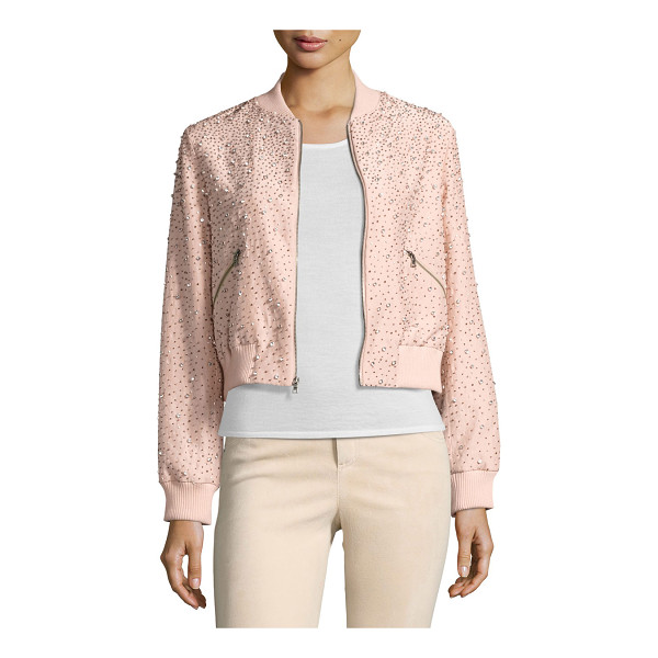 ALICE + OLIVIA Demia Embellished Silk Cropped Bomber Jacket - ONLYATNM Only Here. Only Ours. Exclusively for You. Alice +...