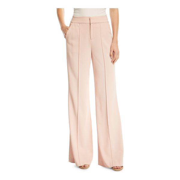 "ALICE + OLIVIA Dylan High-Waist Wide-Leg Pants w/ Pintucking - Alice + Olivia ""Dylan"" pants with pintucking down front...."