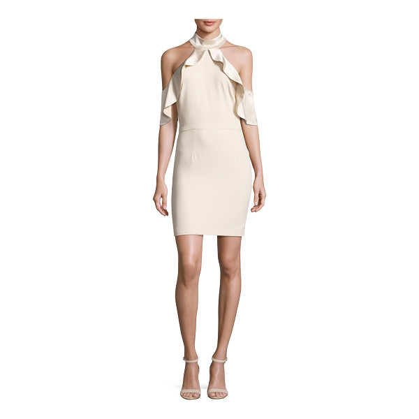 "ALICE + OLIVIA Ebony Cold-Shoulder Cocktail Dress - Alice + Olivia ""Ebony"" crepe cocktail dress with satin..."
