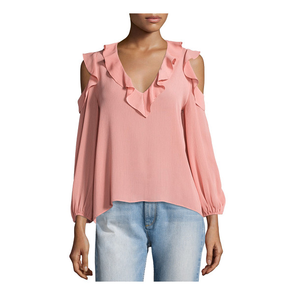 "ALICE + OLIVIA Gia Cold-Shoulder Ruffle Blouse - Alice + Olivia ""Gia"" gauzy blouse with ruffle trim at..."