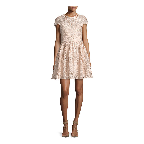 "ALICE + OLIVIA Gracia Cap-Sleeve Lace Cocktail Dress - Alice + Olivia ""Gracia"" cocktail dress with lace overlay...."