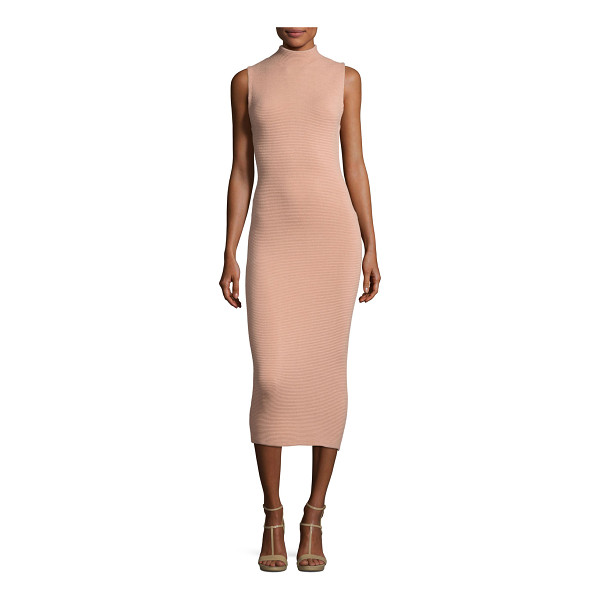 "ALICE + OLIVIA Hana Mock-Neck Sleeveless Midi Dress - Alice + Olivia ""Hana"" ribbed knit dress. Mock neckline...."