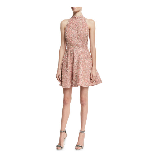 "ALICE + OLIVIA Hollie Sequined Fit-and-Flare Racerback Dress - Alice + Olivia ""Hollie"" silk mini dress with sequin..."