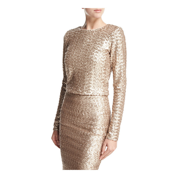 "ALICE + OLIVIA Lebell Sequined Long-Sleeve Crop Top - Alice + Olivia ""Lebell"" allover sequined crop top. Round..."
