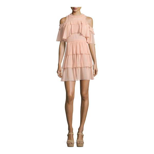 "ALICE + OLIVIA Nichola Cold-Shoulder Ruffle Party Dress - Alice + Olivia ""Nichola"" party dress in gauzy ruffled..."