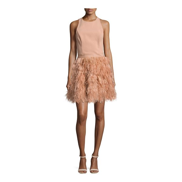 "ALICE + OLIVIA Philomena Feather-Skirt Cocktail Dress - Alice + Olivia ""Philomena"" cocktail dress with lace...."