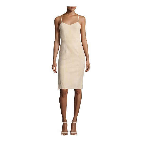"ALICE + OLIVIA Rochelle Suede Fitted Midi Dress - Alice + Olivia ""Rochelle"" dress in sueded lamb leather...."