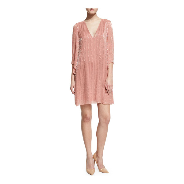 "ALICE + OLIVIA Tammin 3/4-Sleeve Embellished V-Neck Caftan - Alice + Olivia ""Tammin"" chiffon mini dress with striped..."