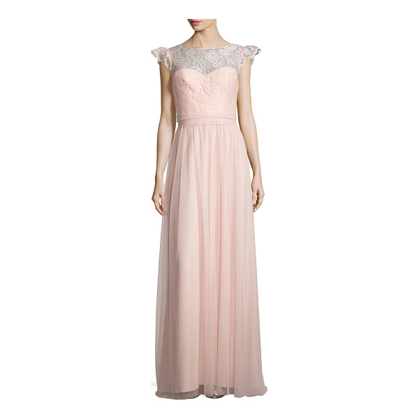 AMSALE Cap-Sleeve Lace-Trim Tulle Gown - Amsale tulle gown, ideal as bridesmaid's dress. Approx....