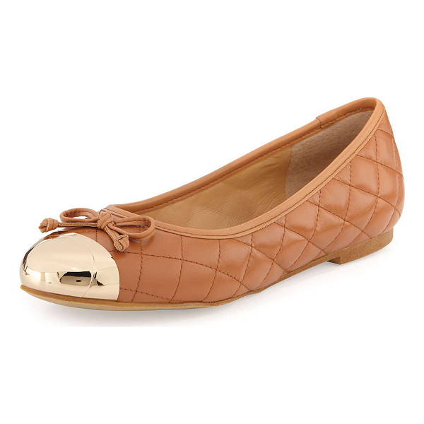 "ANDREW STEVENS Lalo quilted metallic cap-toe ballet flat -  Andrew Stevens quilted leather ballet flat. Flat 1/4""..."