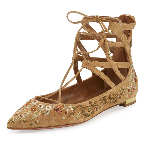 "AQUAZZURA Belgravia embroidered lace-up flat - Aquazzura floral-embroidered suede flat. 0. 5"" flat..."