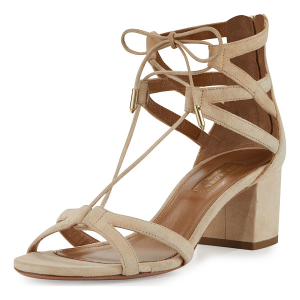 "AQUAZZURA Beverly Hills 50mm Suede Lace-Up Sandal - Aquazzura suede sandal. 2"" covered block heel; 4""H shaft."