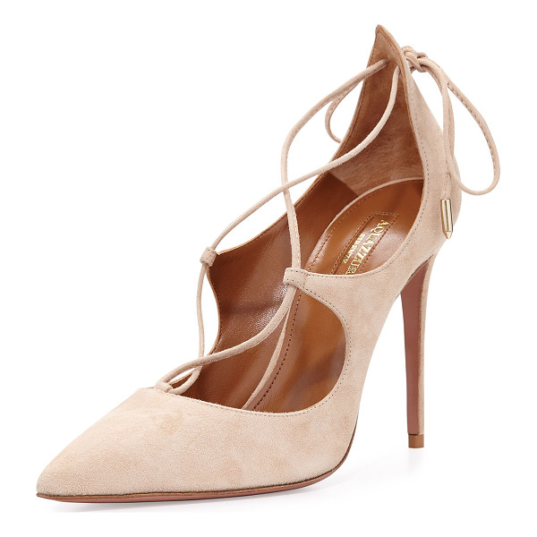 "AQUAZZURA Christy Suede Lace-Up Pump - Aquazzura suede ""Christy"" pump. 4.1"" covered heel. Pointed..."