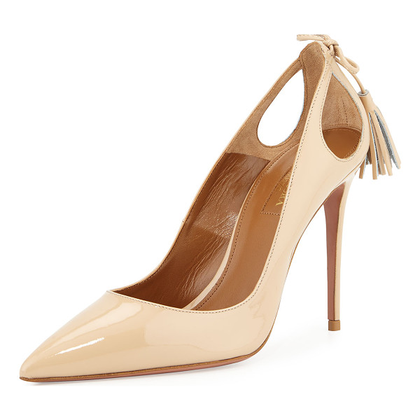 "AQUAZZURA Forever Marilyn Patent Leather Cutout Pump - Aquazzura patent leather pump. 4.3"" covered stiletto heel."