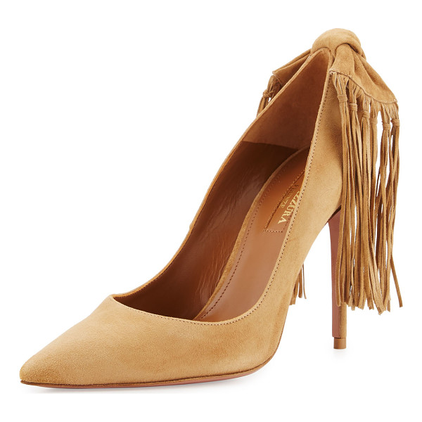 AQUAZZURA Fringe Tie Suede 105mm Pump - ONLYATNM Only Here. Only Ours. Exclusively for You....