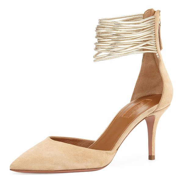 "AQUAZZURA Hello Lover Ankle-Cuff 75mm Pump - Aquazzura suede d'Orsay pump. 3"" covered heel. Pointed toe...."