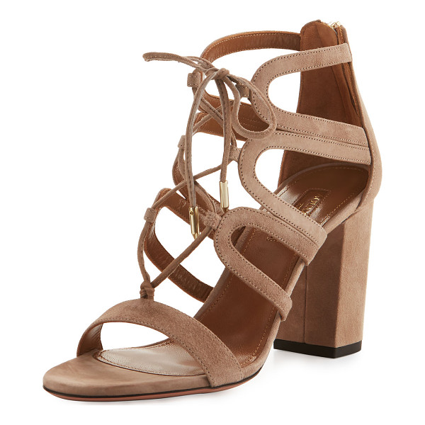 AQUAZZURA Holli Suede Lace-Up 85mm Sandal - EXCLUSIVELY AT NEIMAN MARCUS Aquazzura suede sandal....
