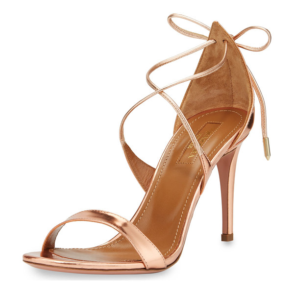 "AQUAZZURA Linda Metallic Leather 75mm Sandal - Aquazzura metallic napa leather sandal. 3"" covered heel."