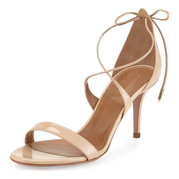 "AQUAZZURA Linda Patent Leather 75mm Sandal - Aquazzura patent leather sandal. 3"" covered heel. Thin"