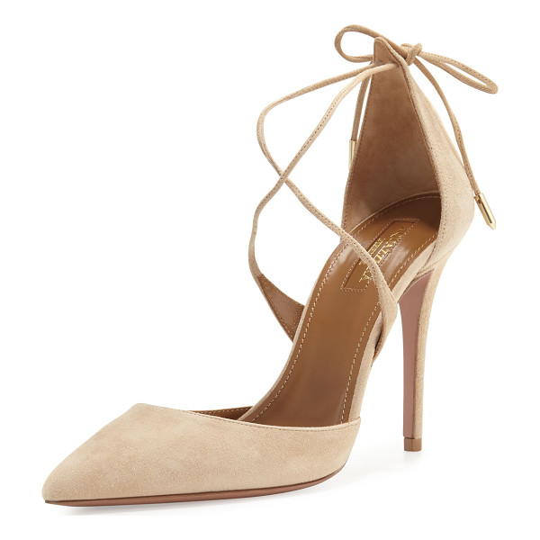 "AQUAZZURA Matilde Crisscross Suede 105mm Pump - Aquazzura suede d'Orsay pump. 4"" covered heel. Pointed toe."