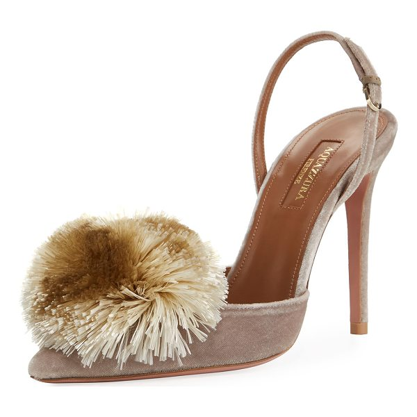 "AQUAZZURA Powder Puff Slingback 105mm Pump - Aquazzura velvet pump with raffia pompom. 4.1"" covered..."