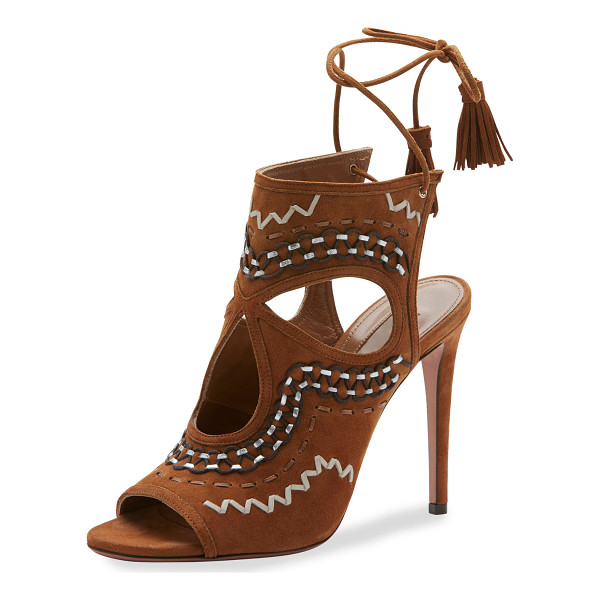 "AQUAZZURA Sexy Thing Folk Cutout 105mm Sandal - Aquazzura embroidered suede sandal. 4.3"" covered heel. Open"