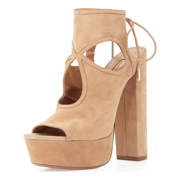 "AQUAZZURA Sexy Thing Platform Sandal - Aquazzura sandal with suede upper. 6.5"" covered heel and"