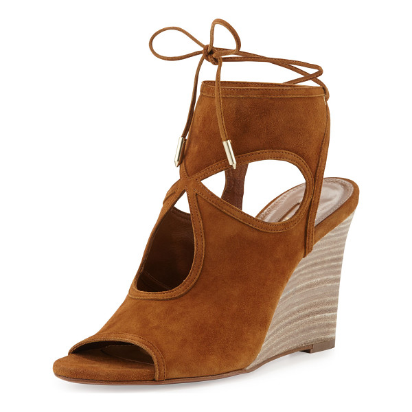 "AQUAZZURA Sexy Thing Suede 85mm Wedge Sandal - Aquazzura kid suede sandal. 3.3"" stacked wedge heel...."