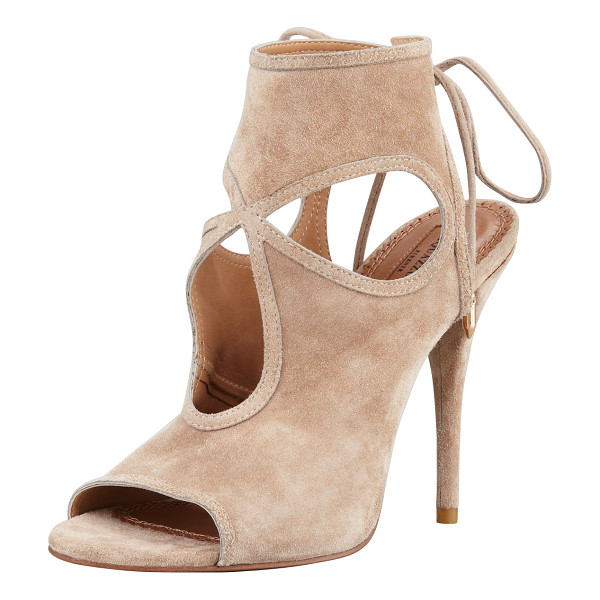 """AQUAZZURA Sexy Thing Suede Cutout Sandal - Suede. 4 1/2"""" covered heel. High-cut vamp, 4""""H. Layered..."""