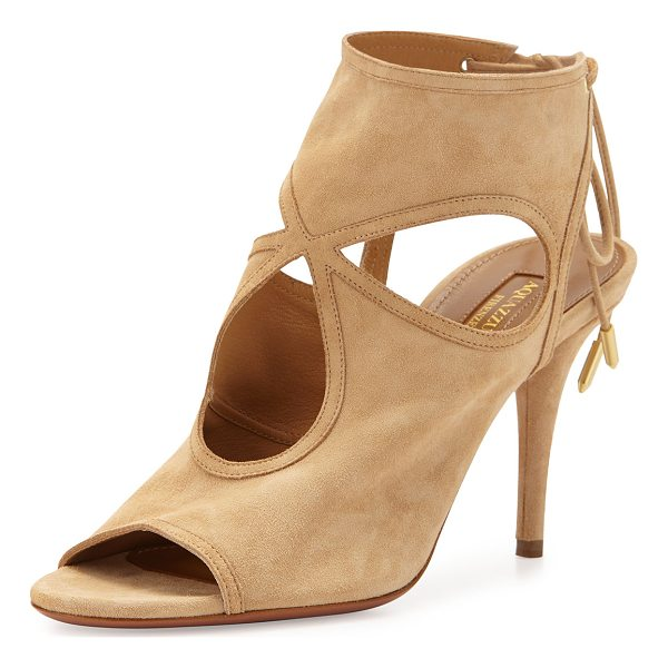 "AQUAZZURA Sexy Thing Suede Cutout Sandal - Aquazzura suede sandal. 3.4"" covered stiletto heel...."