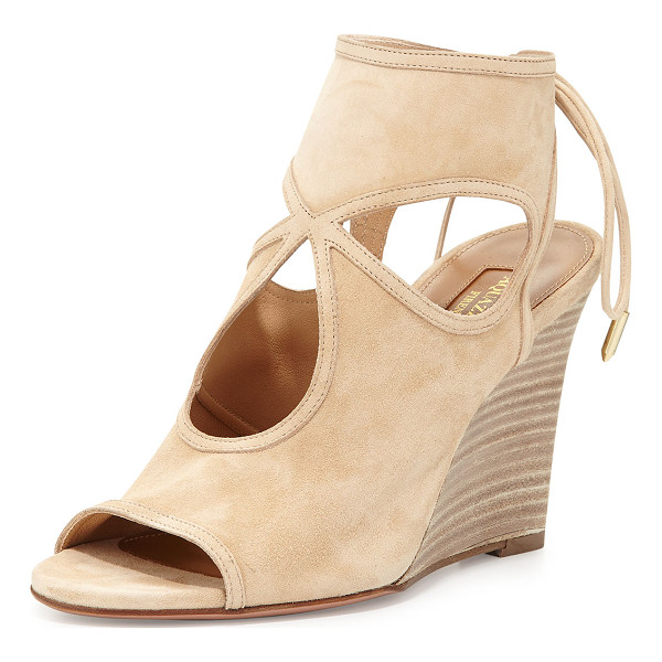 "AQUAZZURA Sexy Thing Suede 85mm Wedge Sandal - Aquazzura kid suede sandal. 3.3"" stacked wedge heel."