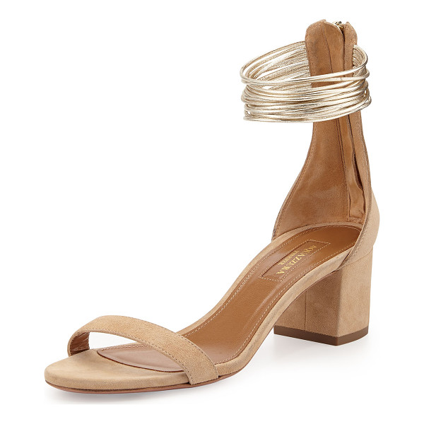 "AQUAZZURA Spin Me Around City Sandal - Aquazzura suede city sandal. 2 1/4"" covered block heel...."