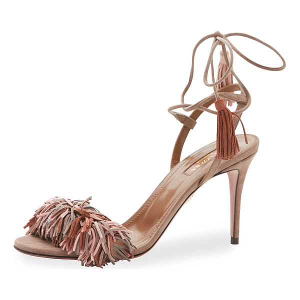 AQUAZZURA Wild Thing Suede 85mm Sandal - Aquazzura suede sandal. Available in multiple colors. 3.3""