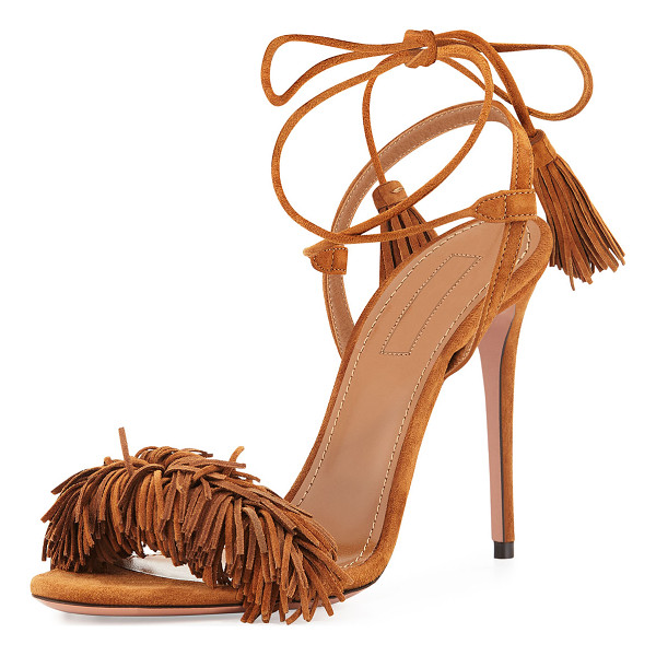 "AQUAZZURA Wild Thing Suede 105mm Sandal - Aquazzura suede sandal. 4.1"" covered heel. Fringe strap..."