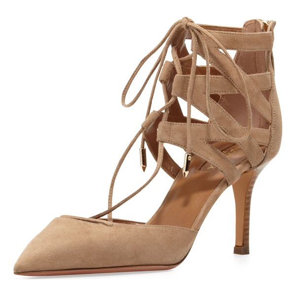 "AQUAZZURA Belgravia Lattice Suede Sandal - Suede upper. 3.3"" kitten heel. Pointed toe. Crisscross..."