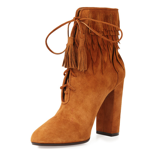 "AQUAZZURA Woodstock Suede Fringe Bootie - Aquazzura suede bootie with fringed upper. 3.4"" covered..."