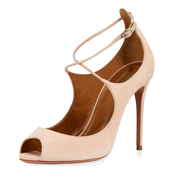 "AQUAZZURA Zani Suede 105mm Pump - Aquazzura suede pump 4.1"" covered heel. Peep toe."