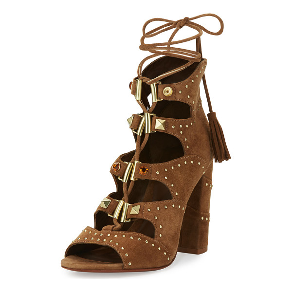 """ASH Alexa Studded Lace-Up Sandal - Ash suede sandal with studded trim. 4"""" covered block heel...."""