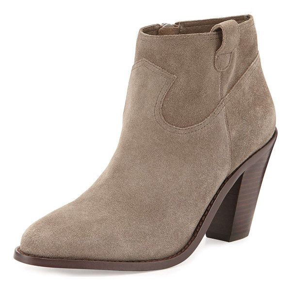 ASH Ivana suede ankle bootie - Ash suede ankle bootie. Stacked chunky heel. Almond toe....