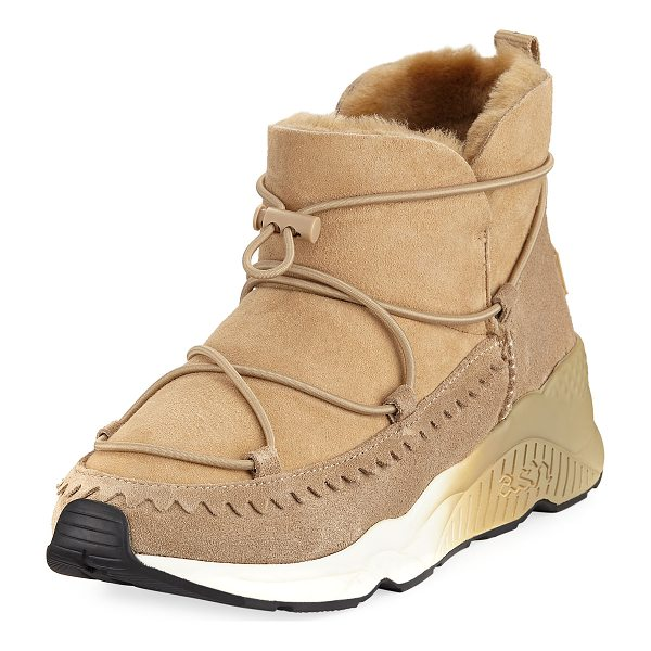 ASH Mitsouko Shearling Suede Sneaker - Ash suede sneaker with dyed lamb shearling (China) trim....