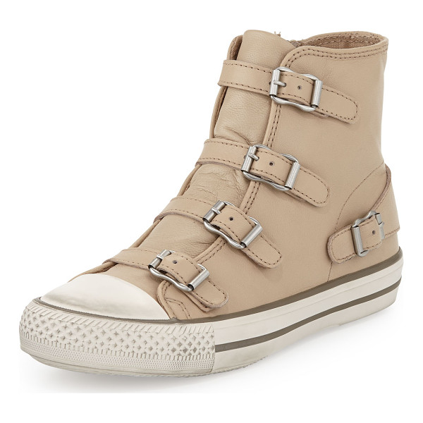 ASH Virgin buckled high-top sneaker -  Ash soft leather high-top sneaker. Contrast rubber caps...