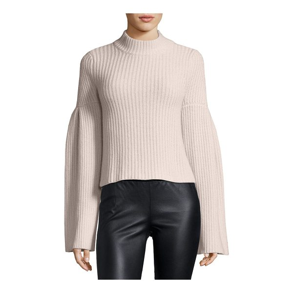 AUTUMN CASHMERE Mock-Neck Trumpet-Sleeve Sweater - Autumn Cashmere rib-knit sweater. Mock neckline. Dropped...