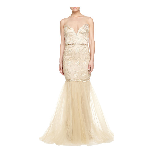 BADGLEY MISCHKA COLLECTION Beaded & lace illusion-neck gown - Badgley Mischka Collection beaded and lace gown. Illusion...