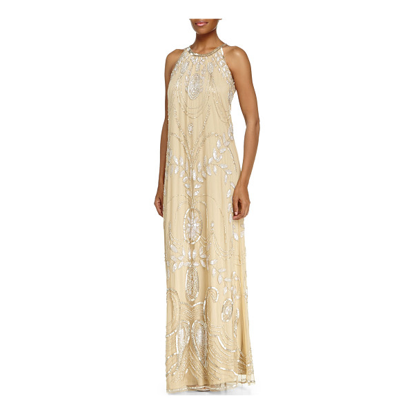 "BADGLEY MISCHKA COLLECTION Sleeveless halter beaded gown - Badgley Mischka Collection beaded gown. Approx. 55""L from..."