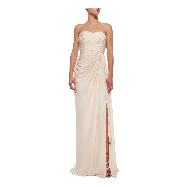 BADGLEY MISCHKA COLLECTION Strapless draped high-slit gown - Badgley Mischka Collection chiffon gown. Approx....