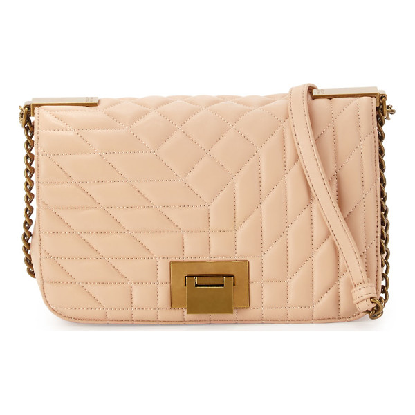 BADGLEY MISCHKA Coralie Quilted-Leather Crossbody Bag - Badgley Mischka quilted-leather crossbody bag. Golden...