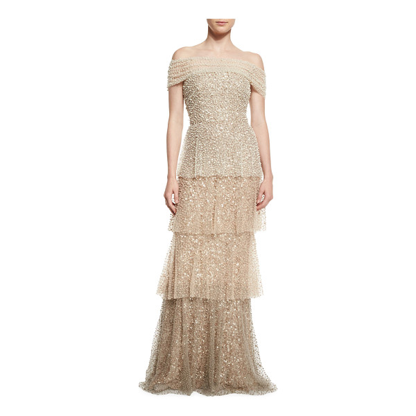 BADGLEY MISCHKA COUTURE Pearly Ombre Tiered Gown - Badgley Mischka Couture pearly ombre tulle gown....