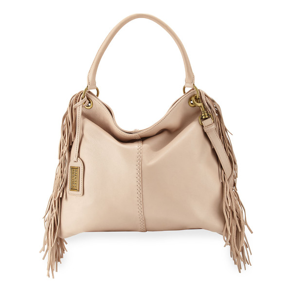 BADGLEY MISCHKA Gaia leather crossbody bag w/fringe - Badgley Mischka leather bag with fringe sides. Golden...