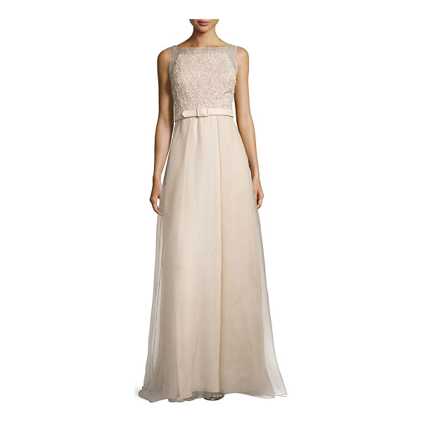 BADGLEY MISCHKA Sleeveless beaded organza ball gown w/ belt - Badgley Mischka Collection ball gown features beaded bodice...